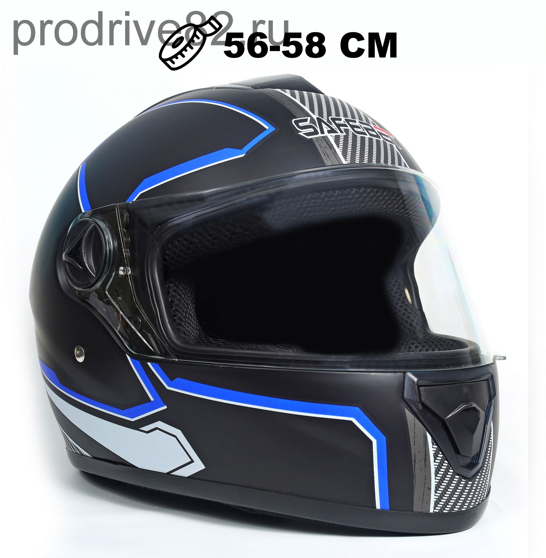 Шлем интеграл Safebet 112 matt black, blue