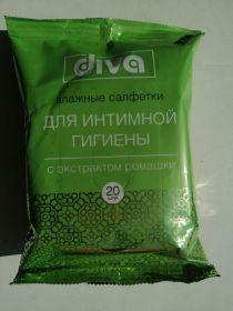 Влажные Салф ДИВА д/интим.гигиены ромашка 20шт /72