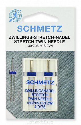 Иглы двойные Schmetz 130/750HS x 1 ZWI №75/4.0 1шт  Stretch