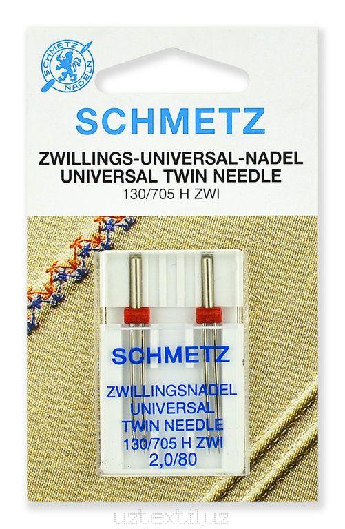 Иглы двойные Schmetz 130/750HS ZWI №80/2.0 - 2 Штуки