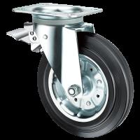 Колесо усиленное обрезиненное поворотное с тормозом SRCb