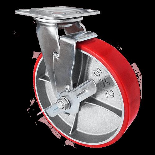 Колесо большегрузное полиуретановое поворотное с тормозом SCpb