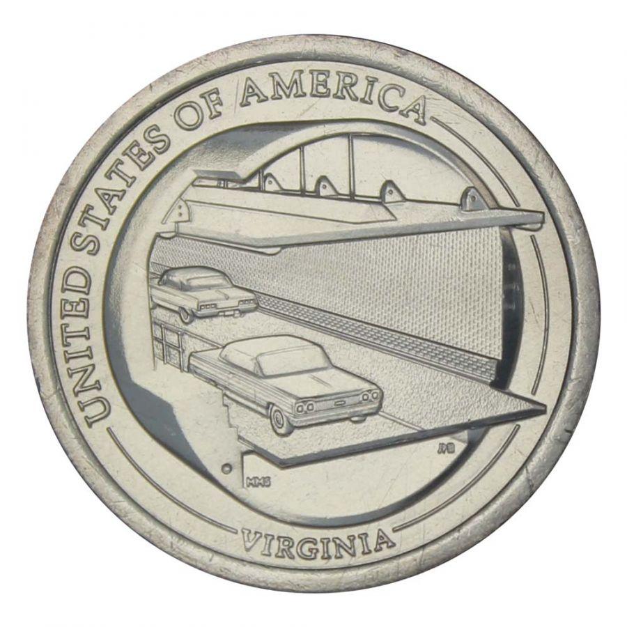 1 доллар 2021 США Мост-тоннель через Чесапикский залив, Вирджиния (Американские инновации)