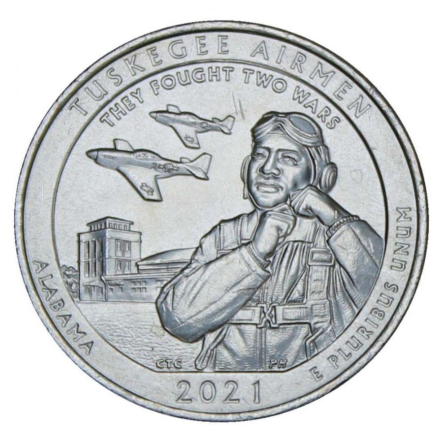 25 центов 2021 США Национальное историческое место - Пилоты из Таскиги P