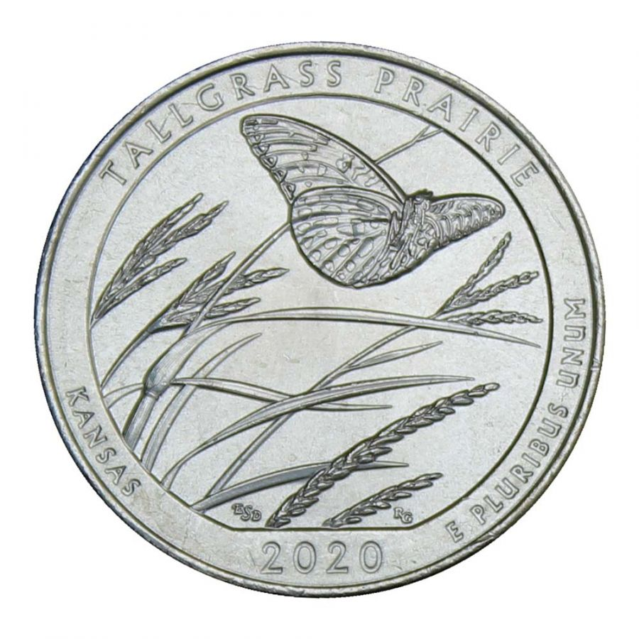 25 центов 2020 США Национальный заказник Таллграсс Прейри S