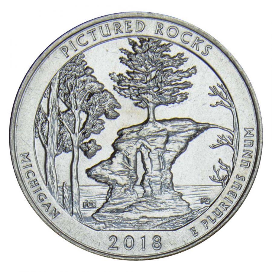 25 центов 2018 США Национальные озёрные побережья живописных камней D