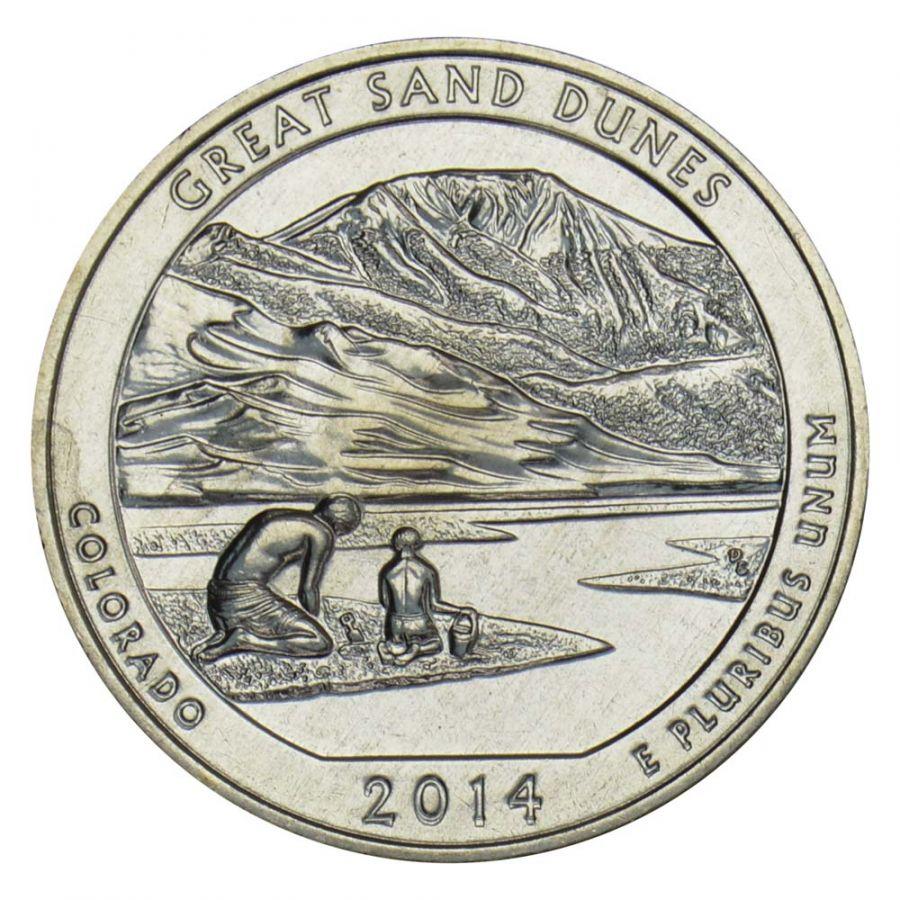 25 центов 2014 США Национальный парк Грейт-Санд-Дьюнс S