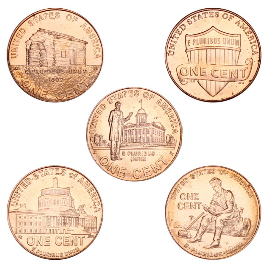 Набор 1 цент 2009-2010 США Жизнь Линкольна (5 монет)