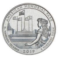 25 центов 2019 США Американский Мемориальный Парк P