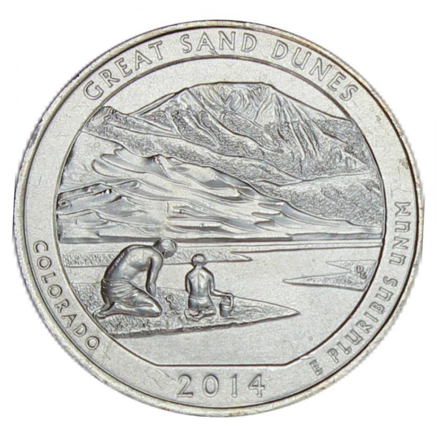 25 центов 2014 США Национальный парк Грейт-Санд-Дьюнс P