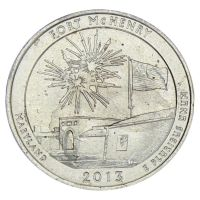 25 центов 2013 США Национальный памятник Форт Мак-Генри P