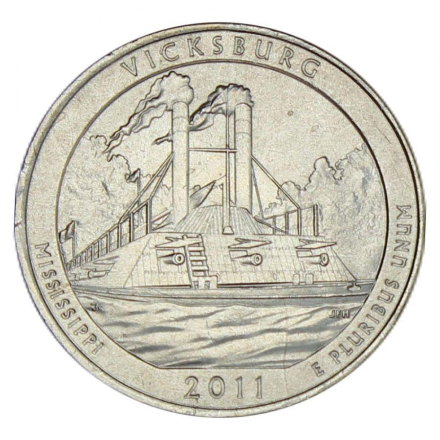 25 центов 2011 США Национальный парк Виксбург P