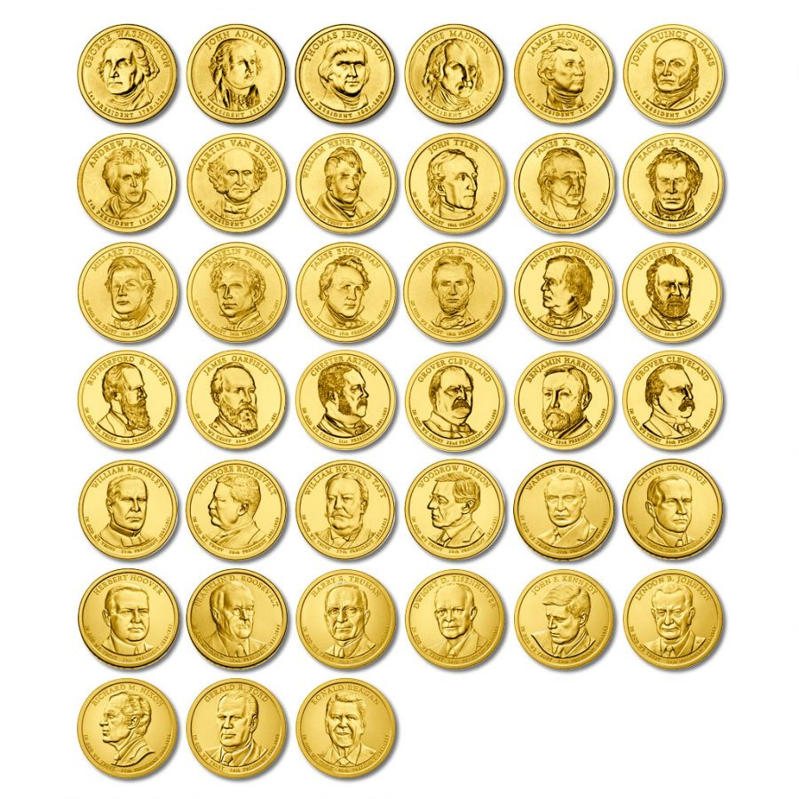 Набор 1 доллар 2007-2016 США Президенты (39 монет)