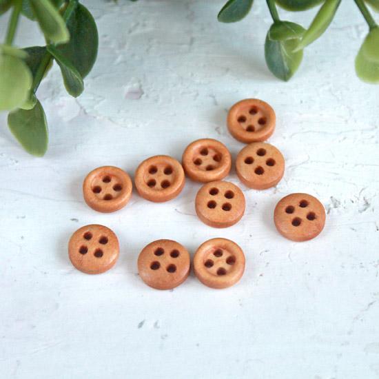 Деревянные пуговицы светло - коричневые, 10 шт., 10 мм.