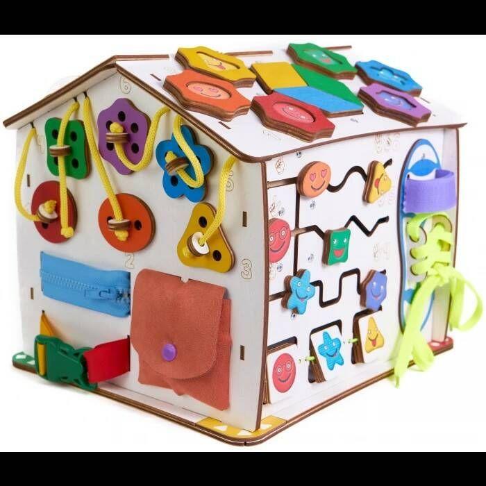 Бизиборд домик знайка Смайлики дома 25х25х29 со светом