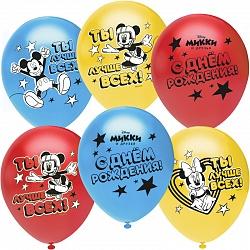 Микки Маус, С Днем Рождения!, Ассорти, пастель, 2 ст, 25 шт.