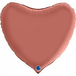 "Фигура ""Сердце"" розовое золото, Сатин, 36""/ 90 см"
