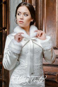 Короткая утепленная свадебная курточка