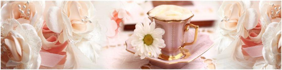 Кухонный фартук AG 10 - Нежность ромашки цветы чашка