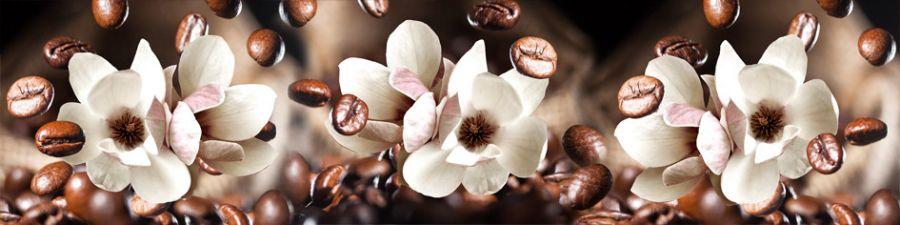 Кухонный фартук AG 111 - Цветки магноилии и кофе Цветы
