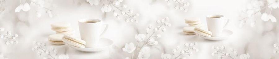 Кухонный фартук AG 113 - Чайная нежность  цветы сладкое кофе чашки