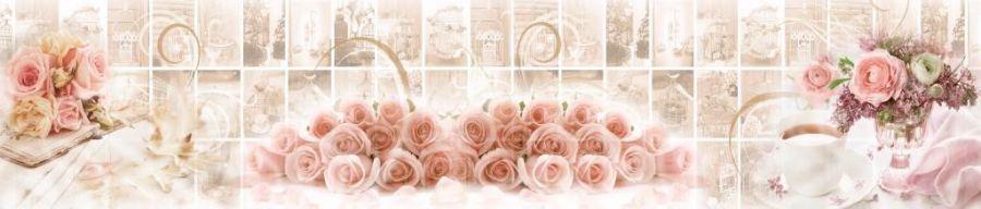 Кухонный фартук BS 187 - Розовые розы цветы плитка абстракция