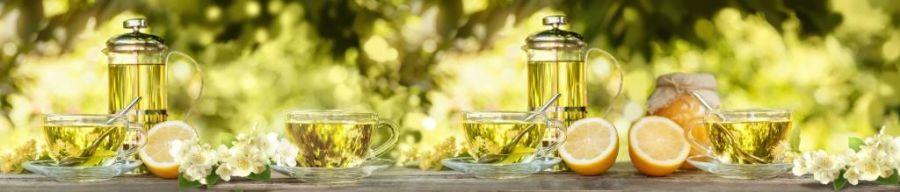 Кухонный фартук BS 190 - Чайная церемония чашечки лимон
