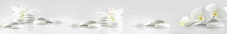 Кухонный фартук BS 47 - Белые орхидеи и камни