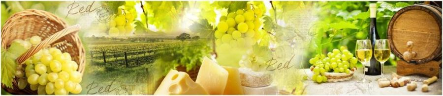 Кухонный фартук TOP 12 - Пикник вино виноград сыр