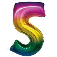 """Фигура """"5"""", 34""""/ 86 см, радуга"""