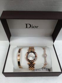 Набор женский: Часы №3 + 2 браслета DIOR