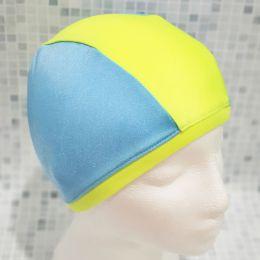 Голубая/желтая Текстильная шапочка для плавания