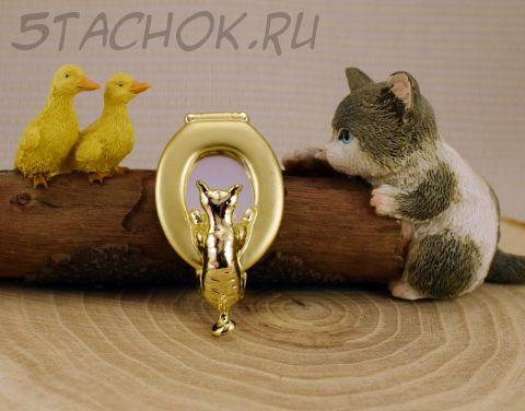 """Брошь """"Любопытный кот"""" цвет золота (AJC США)"""