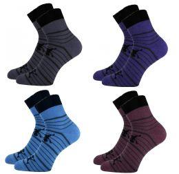 Детские махровые носки С 5062 полосатые человечки