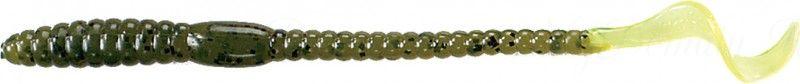 Червь MISTER TWISTER Phenom Worm 15 см уп. 10 шт. 1410BK (прозрачно-зеленый с черными крапинками / салатовый хвост) фирменная упаковка