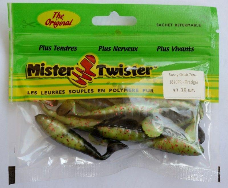 Искусственные приманки MISTER TWISTER Sassy Grub 7 см уп 10 шт 1810PR (темно-зеленый / салатовое брюшко с красными блестками) фирменная упаковка