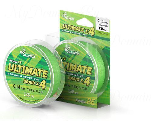 "Шнур плетёный ALLVEGA ""Ultimate"" 135м светло-зелёный 0,22мм (14,2кг)"