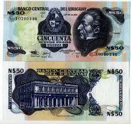Уругвай 50 новых песо. 1987-1989 гг. UNC пресс Генерал Хосе Хервасио Артигас