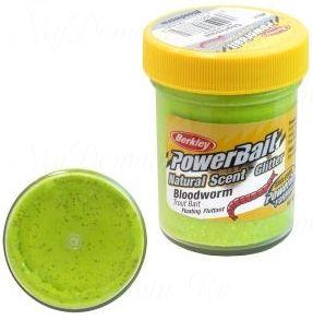 Паста Berkley 50g Powerbait Natural Scent Glitter Trout Bait Bloodworm Chartreuse (Шартрез/блестки)