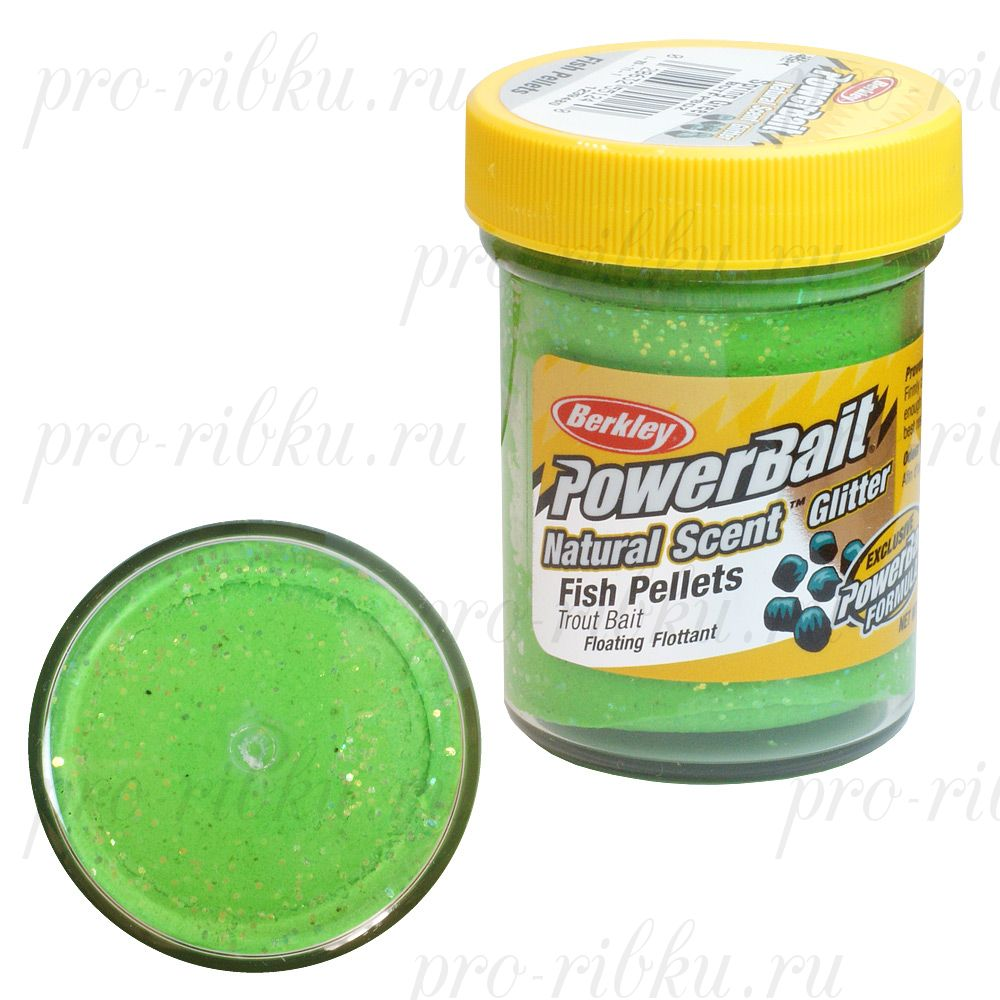 ФОРЕЛЕВАЯ ПАСТА BERKLEY POWERBAIT TROUTBAIT FISH PELLET, цв. Spring Green (пеллетс)