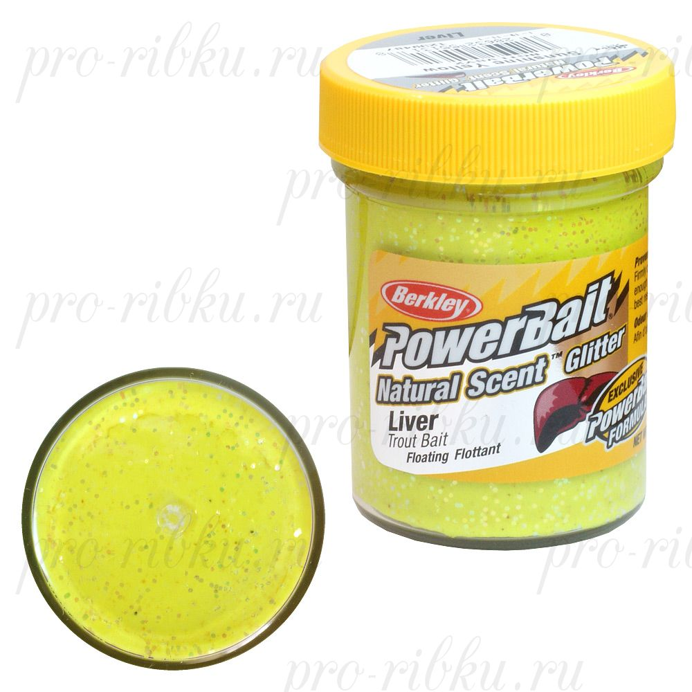 тнпекебюъ оюярю BERKLEY POWERBAIT TROUTBAIT LIVER, ЖБ. Sunshine Yellow (ОЕВЕМЭ)