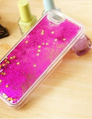 Чехол с блестками для iphone 6/6s (розовый)