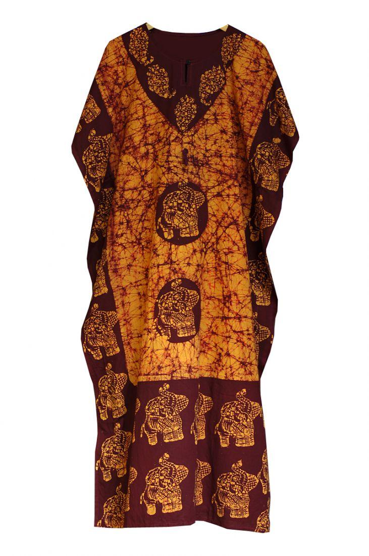 Красно-оранжевое индийское платье из хлопка (Москва)
