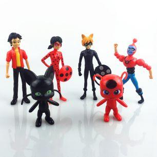 Набор Кукол из 6 героев мультсериала Miraculous (Фигурка Плагг - квами черный кот, Фигурка Тикки - квами божья коровка,  Леди Баг и Супер Кот)