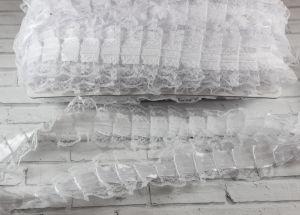 `Лента рюшевая простроченная, ширина 50 мм, цвет белый