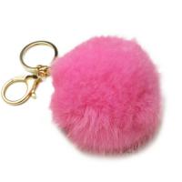 Брелок шарик розового цвета из натурального меха