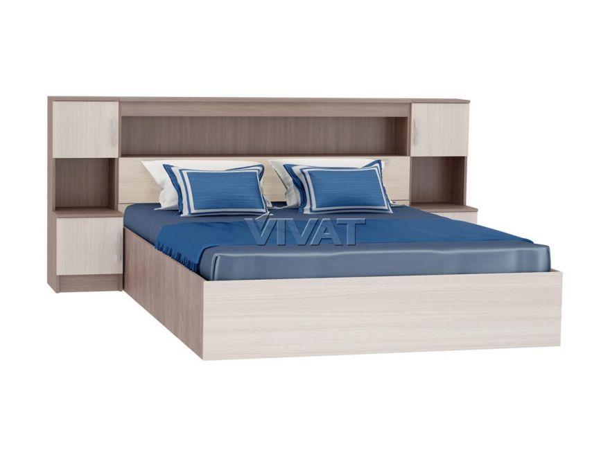 Кровать Бася КР-552 с закроватным модулем (1,6м) VIVAT