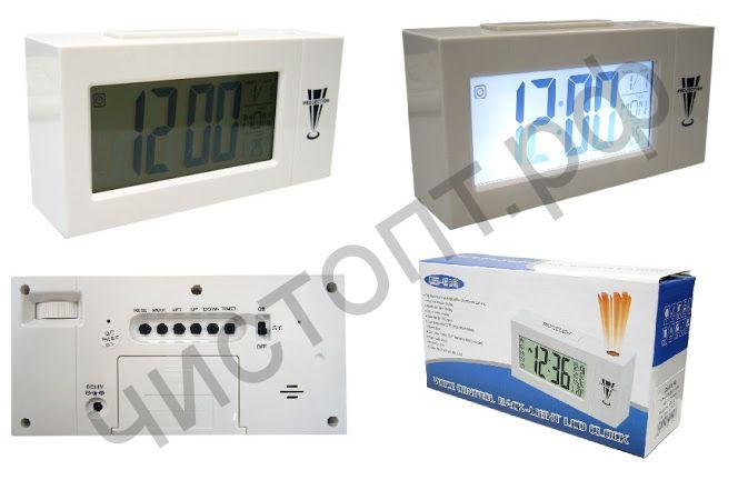Часы  эл. настоль. DS-618  (будильник, температура, подсветка-датчик звука) проекционные