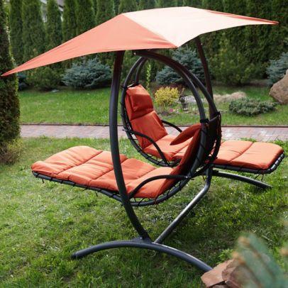 Двойное подвесное кресло качели ЛУНА КОНЦЕПТ (цвет оранжевый)