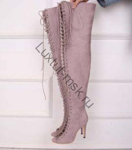 Ботфорты Balmain на шнурках окрытые
